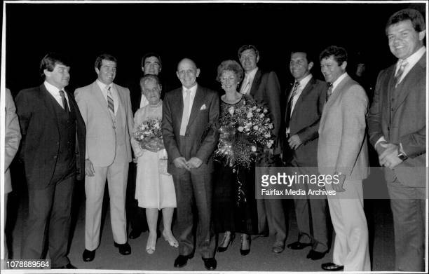 Clive Churchill Testimonial dinner.Clive Churchill and ex South Sydney plays.Clive Churchill, his mother , and wife Joyce, surrounded by members of...