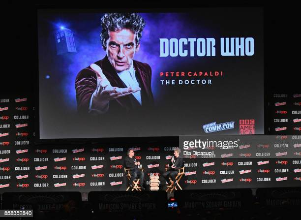 Clive Cullen and Peter Capaldi speak onstage during BBC America Presents Spotlight panel during the 2017 New York Comic Con on October 6 2017 in New...