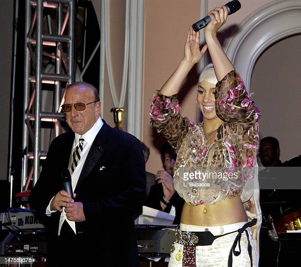 Clive Davis Alicia Keys during The 44th Annual GRAMMY Awards Clive Davis PreGRAMMY Party at Beverly Hills Hotel in Beverly Hills California United...