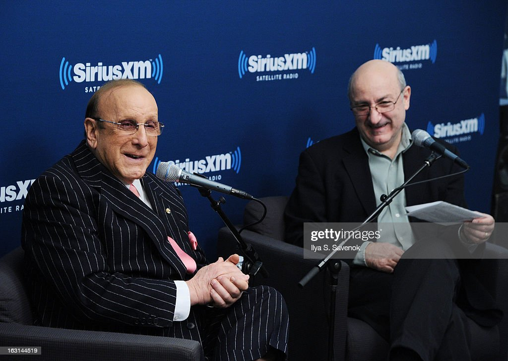 Clive Davis and Anthony DeCurtis attend 'SiriusXM's Town Hall with Clive Davis' and moderator Anthony DeCurtis in the SiriusXM Studios on March 5, 2013 in New York City.