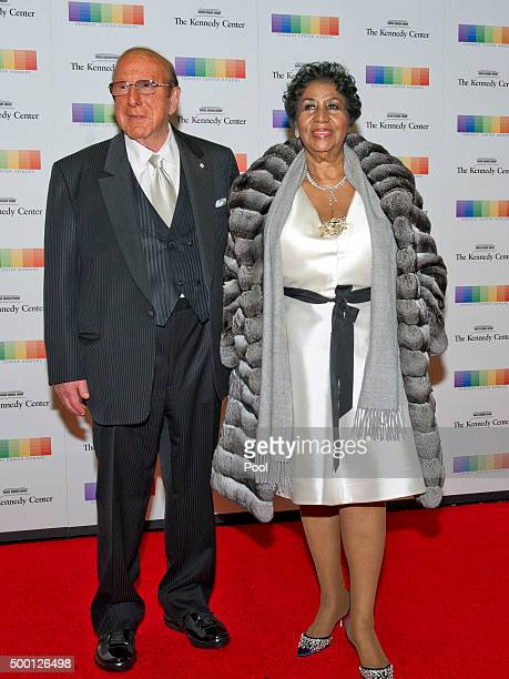 Clive Davis and Aretha Franklin arrive for the formal Artist's Dinner honoring the recipients of the 38th Annual Kennedy Center Honors hosted by...