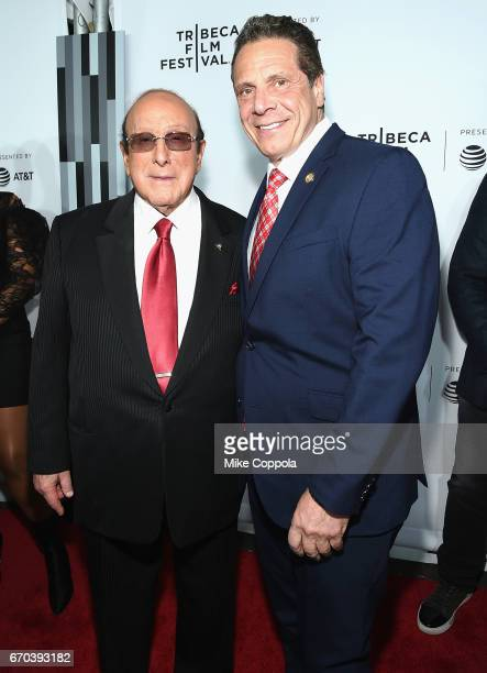Clive Davis and Governor of New York Andrew Cuomo attend the Clive Davis The Soundtrack Of Our Lives Premiere at Radio City Music Hall on April 19...