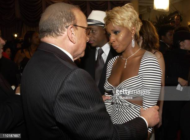 Clive Davis and Mary J Blige during 2004 Clive Davis PreGrammy Party Inside Arrivals at Beverly Hills Hotel in Beverly Hills California United States