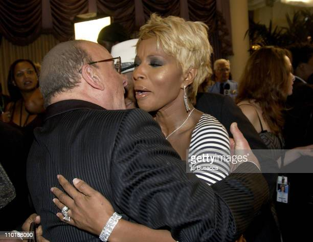 Clive Davis and Mary J Blige during 2004 Clive Davis PreGrammy Party Backstage and Audience at Beverly Hills Hotel in Beverly Hills California United...
