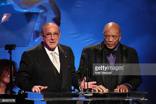 Clive Davis and Quincy Jones speak on stage at the 30th Anniversary Carousel Of Hope Ball at The Beverly Hilton Hotel on October 25, 2008 in Beverly...