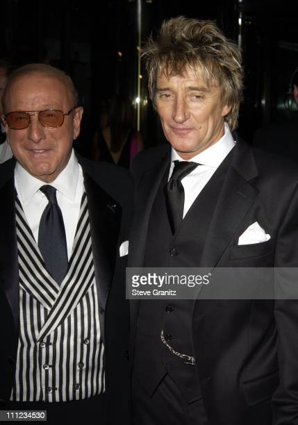 Clive Davis and Rod Stewart during 2003 Clive Davis PreGRAMMY Party Arrivals at The Regent Wall Street in New York City New York United States