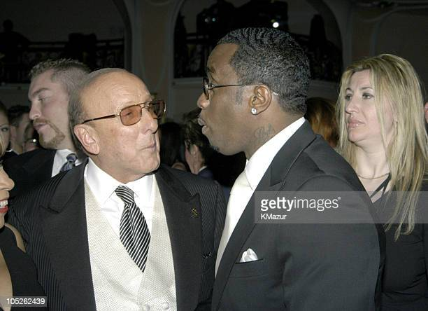 Clive Davis and Sean PDiddy Combs during 2004 Clive Davis PreGrammy Party Backstage and Audience at Beverly Hills Hotel in Beverly Hills California...