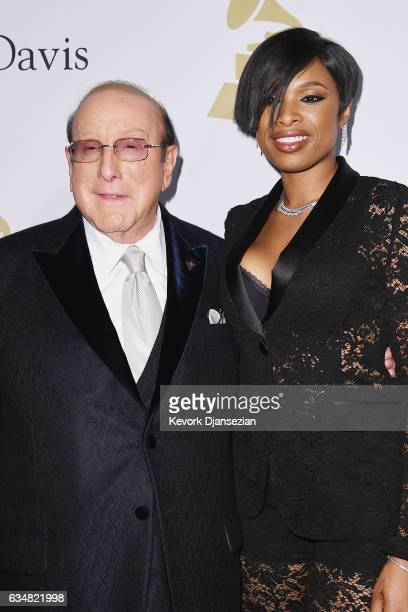 Clive Davis and singer Jennifer Hudson attend PreGRAMMY Gala and Salute to Industry Icons Honoring Debra Lee at The Beverly Hilton on February 11...