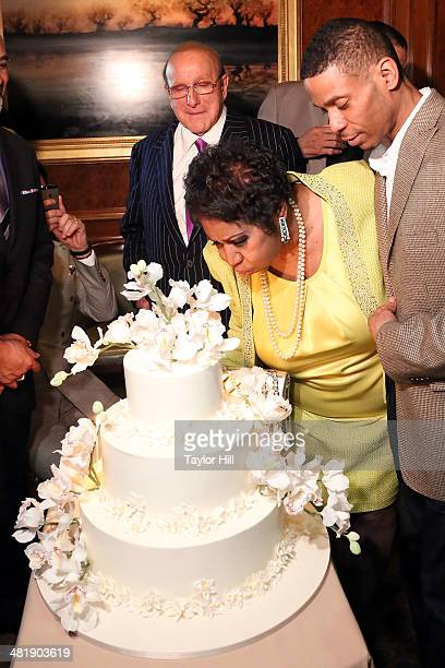 Clive Davis Aretha Franklin and Kecalf Cunningham attend Aretha Franklin's 72nd Birthday Celebration on March 22 2014 in New York City