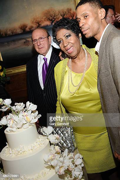 Clive Davis Aretha Franklin and Kecalf Franklin attend Aretha Franklin's 72nd Birthday Celebration at The RitzCarlton Hotel on March 22 2014 in New...
