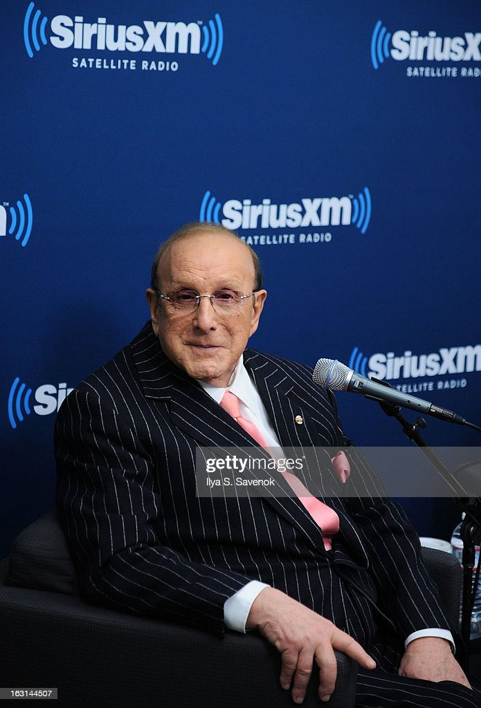Clive Davis attends 'SiriusXM's Town Hall with Clive Davis' and moderator Anthony DeCurtis in the SiriusXM Studios on March 5, 2013 in New York City.