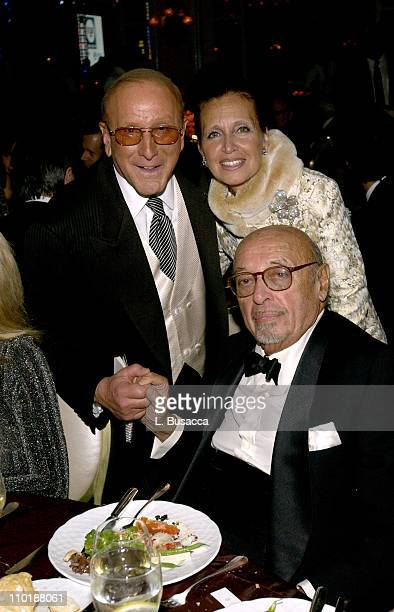 Clive Davis Danielle Steele and Ahmet Ertegun during 2004 Clive Davis PreGrammy Party Backstage and Audience at Beverly Hills Hotel in Beverly Hills...
