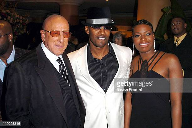 Clive Davis Jamie Foxx and Fantasia Barrino during Clive Davis' 2005 PreGRAMMY Awards Party Cocktail Reception at Beverly Hills Hotel in Beverly...