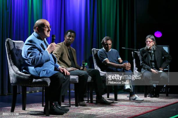 Clive Davis Kenny 'Babyface' Edmonds and Johnny Mathis speak with GRAMMY Museum Executive Director Scott Goldman at Celebrating The Great New...