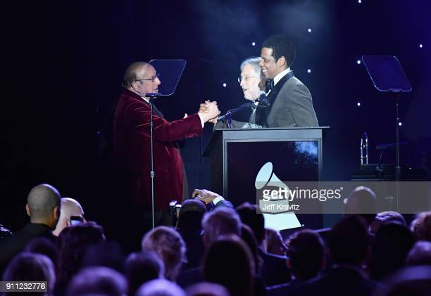 Clive Davis Neil Portnow and JayZ appear onstage during the Clive Davis and Recording Academy PreGRAMMY Gala and GRAMMY Salute to Industry Icons...
