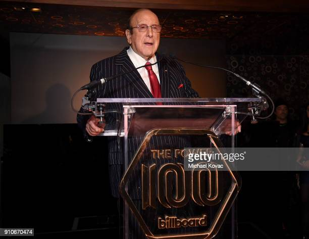 Clive Davis presents onstage at the 2018 Billboard Power 100 celebration at Nobu 57 on January 25 2018 in New York City