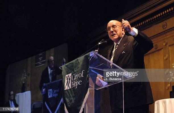Clive Davis speaks as music's biggest hitmakers and stars come out to honor one of their own legendary music executive Richard Palmese at the City of...