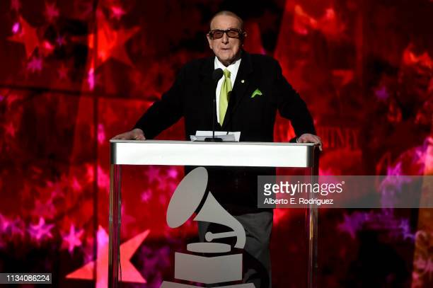 Clive Davis speaks onstage at AllStar Lineup Pays Tribute At 'Aretha A GRAMMYCelebration For The Queen Of Soul at The Shrine Auditorium on January...