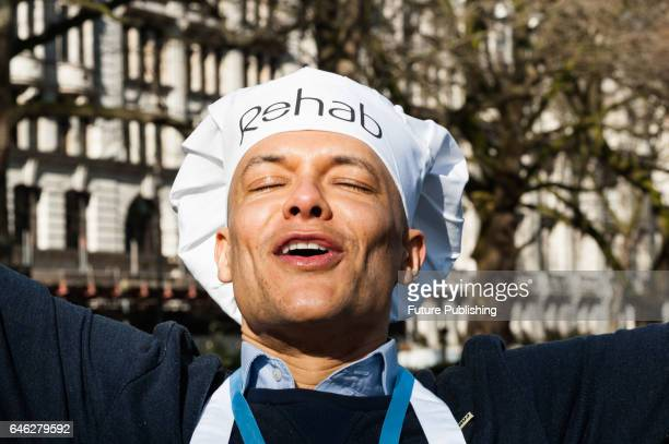 Clive Lewis MP celebrates a victory as his team won the 20th Parliamentary Pancake Race on Shrove Tuesday also known as Pancake Day or Fat Tuesday in...