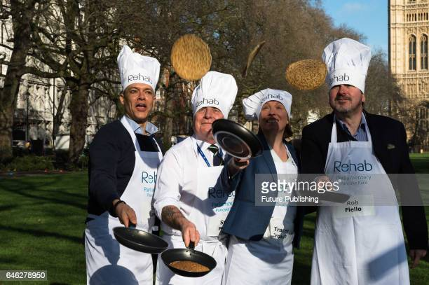 Clive Lewis Steve Pound Tracey Crouch and Rob Flello practice flipping their pancakes as they take part in the 20th Parliamentary Pancake Race on...