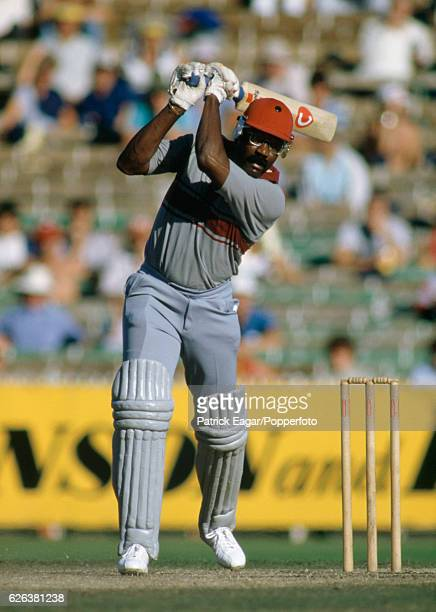 Clive Lloyd batting in his last One Day International for West Indies during the Benson and Hedges World Championship of Cricket Semi Final between...