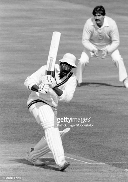 Clive Lloyd of West Indies batting during the Courage Challenge Cup International Batsman of the Year single-wicket competition at The Oval, London,...