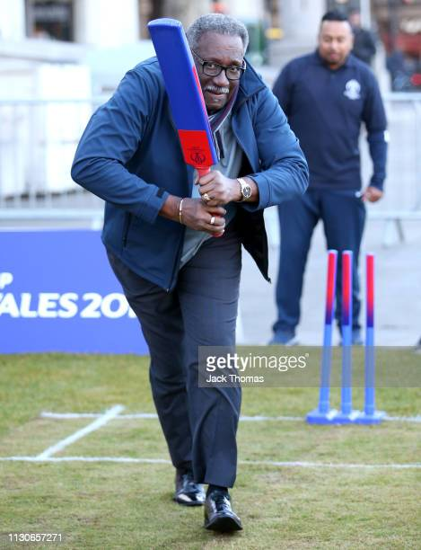 """Clive Lloyd takes part in a cricket activity to celebrate 100 days-to-go to the Cricket World Cup in Trafalgar Square. The """"world's greatest cricket..."""