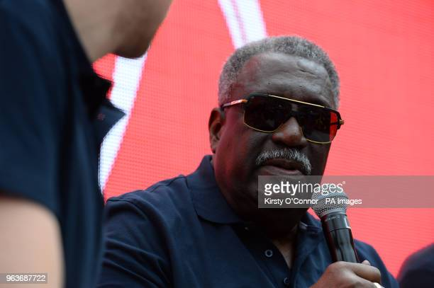 Clive Lloyd takes part in a QA during a 2019 Cricket World Cup countdown event at 93 Feet East London