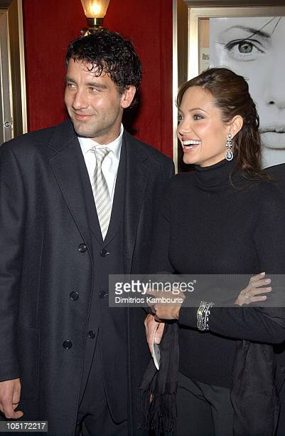 Clive Owen and Angelina Jolie during World Premiere of 'Beyond Borders' Inside Arrivals at The Ziegfeld Theatre in New York City New York United...