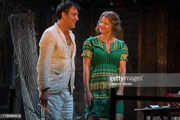 "Clive Owen and Anna Gunn bow at the curtain call during the press night performance of ""The Night Of The Iguana"" at The Noel Coward Theatre on July..."