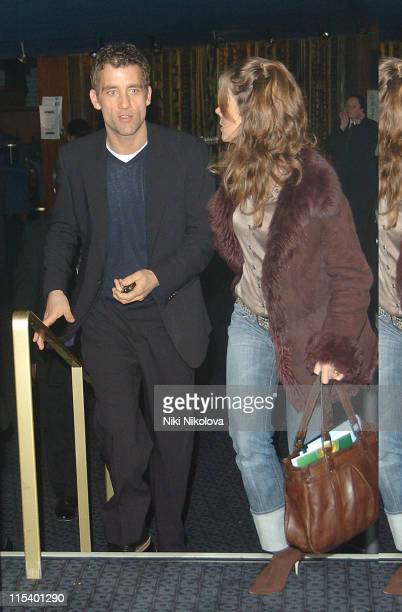 """Clive Owen and guest during """"Derailed"""" London Premiere - Departures at Curzon Mayfair in London, Great Britain."""