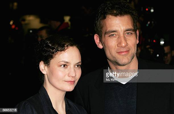 Clive Owen and wife SarahJane Fenton arrive at the UK Premiere of 'Derailed' at the Curzon Mayfair on January 23 2006 in London England