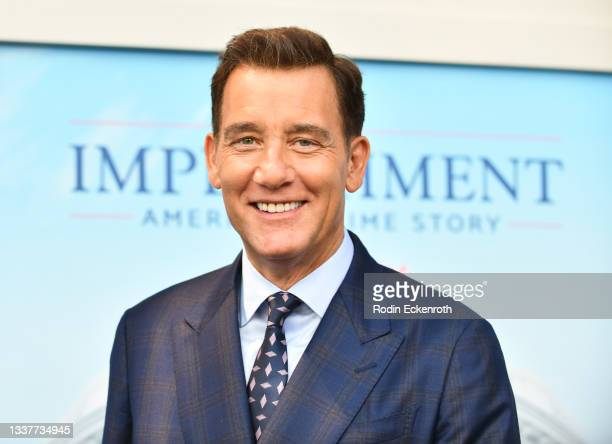 """Clive Owen attends the premiere of FX's """"Impeachment: American Crime Story"""" at Pacific Design Center on September 01, 2021 in West Hollywood,..."""