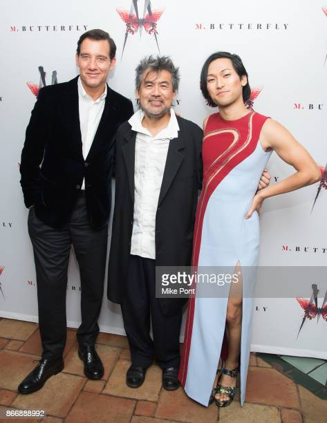 Clive Owen David Henry Hwang and Jin Ha attend the 'M Butterfly' Broadway opening night after party at Redeye Grill on October 26 2017 in New York...