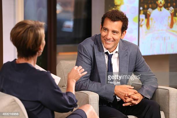 """Clive Owen is a guest on """"Good Morning America,"""" 8/4/14, airing on the Walt Disney Television via Getty Images Television Network. AMY ROBACH, CLIVE..."""