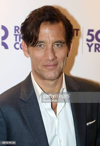 Clive Owen poses at the Roundabout Theater Company's 50th Anniversary Season Party at The American Airlines Theater Penthouse on September 10 2015 in...