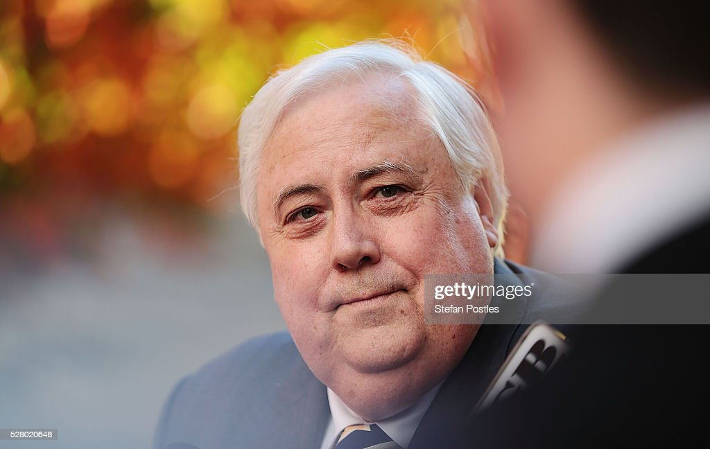 Clive Palmer during a press conference called to announce that he will not seek re-election in the House of Representatives at Parliament House on May 4, 2016 in Canberra, Australia. The Turnbull Goverment's first budget has delivered tax cuts for small and medium businesses, income tax cuts people earning over $80,000 a year,new measures to help young Australians into jobs and cutbacks to superannuation concessions for the wealthy.