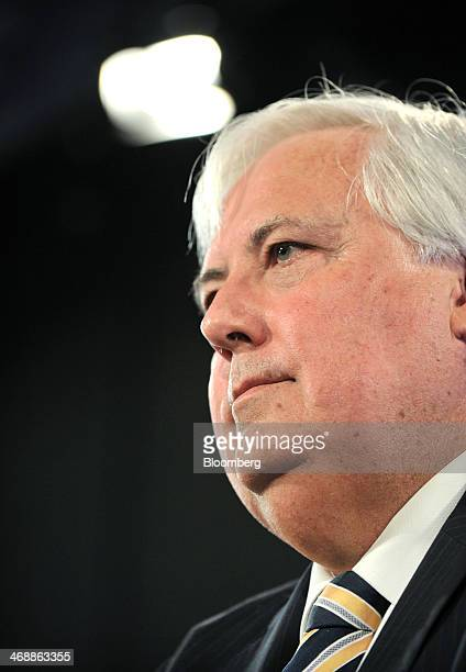 Clive Palmer federal leader of the Palmer United Party and chairman of Mineralogy Pty pauses during a speech at the National Press Club in Canberra...