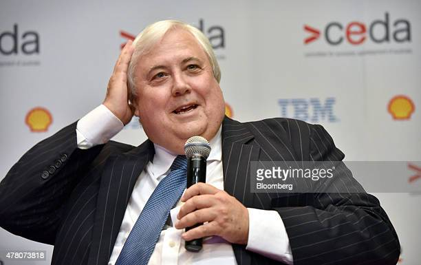 Clive Palmer federal leader of the Palmer United Party and chairman of Mineralogy Pty speaks during the State of the Nation conference hosted by the...