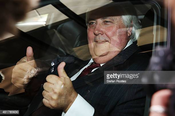 Clive Palmer leaves after speaking at the National Press Club on July 7 2014 in Canberra Australia Today is the first day of sitting for the new...