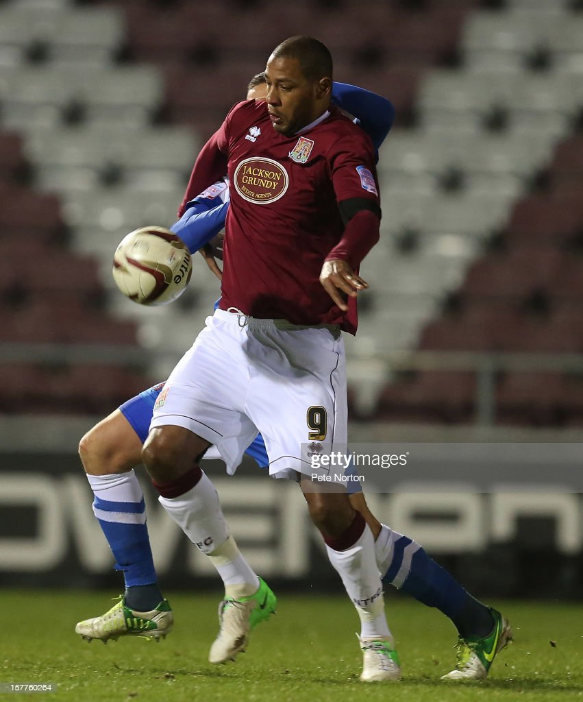 Clive Platt of Northampton Town attempts to control the ball during the Johnstone's Paint Trophy Quarter Final match between Northampton Town and Leyton Orient at Sixfields Stadium on December 5, 2012 in Northampton, England.