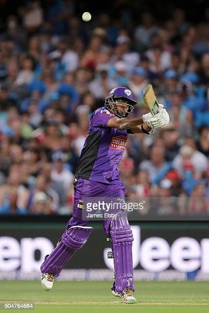 Clive Rose of Hobart plays a shot during the Big Bash League match between the Adelaide Strikers and the Hobart Hurricanes at Adelaide Oval on...