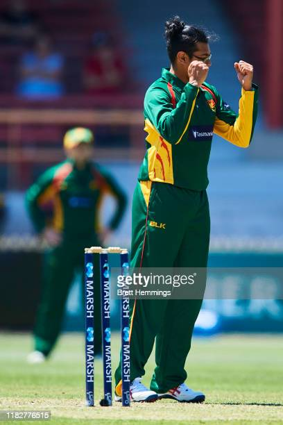 Clive Rose of Tasmania celebrates after taking the wicket of Mitch Starc of NSW during the Marsh One Day Cup match between New South Wales and...