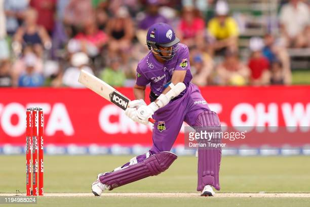 Clive Rose of the Hobart Hurricanes bats during the Big Bash League match between the Hobart Hurricanes and the Sydney Sixers at Traeger Park on...