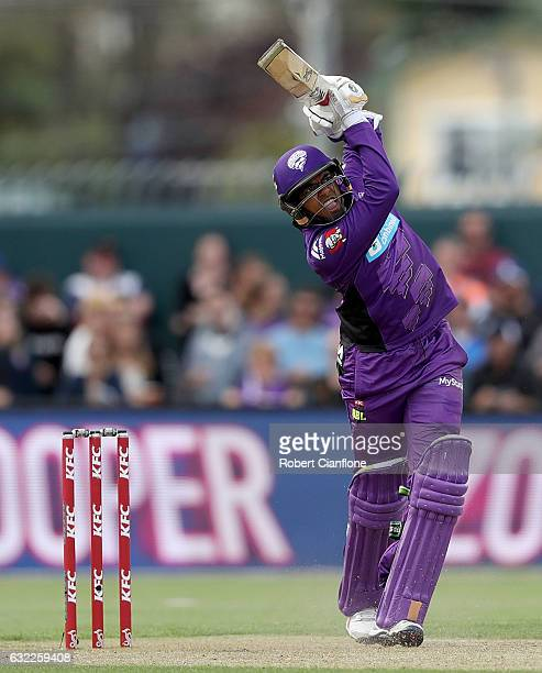Clive Rose of the Hobart Hurricanes bats during the Big Bash League match between the Hobart Hurricanes and the Perth Scorchers at Blundstone Arena...
