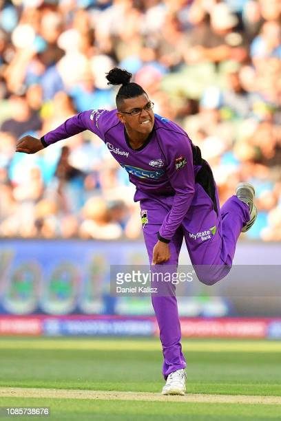 Clive Rose of the Hobart Hurricanes bowls during the Big Bash League match between the Adelaide Strikers and the Hobart Hurricanes at Adelaide Oval...