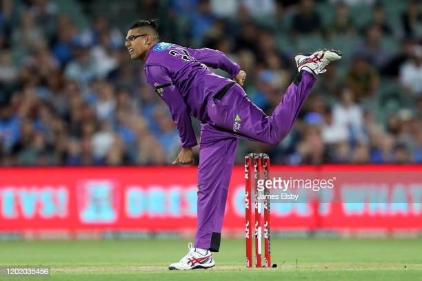 Clive Rose of the Hobart Hurricanes bowls during the Big Bash League match between the Adelaide Strikers and the Hobart Hurricanes at the Adelaide...