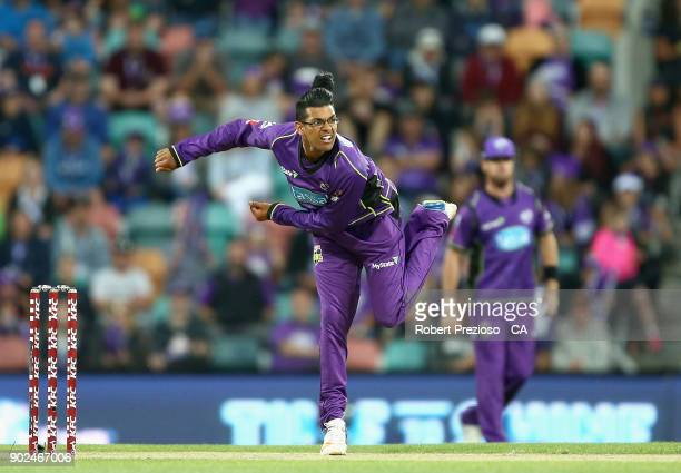 Clive Rose of the Hobart Hurricanes bowls during the Big Bash League match between the Hobart Hurricanes and the Sydney Sixers at Blundstone Arena on...