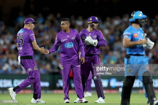 Clive Rose of the Hobart Hurricanes celebrates the wicket of Jonathan Wells of the Adelaide Strikers during the Big Bash League match between the...
