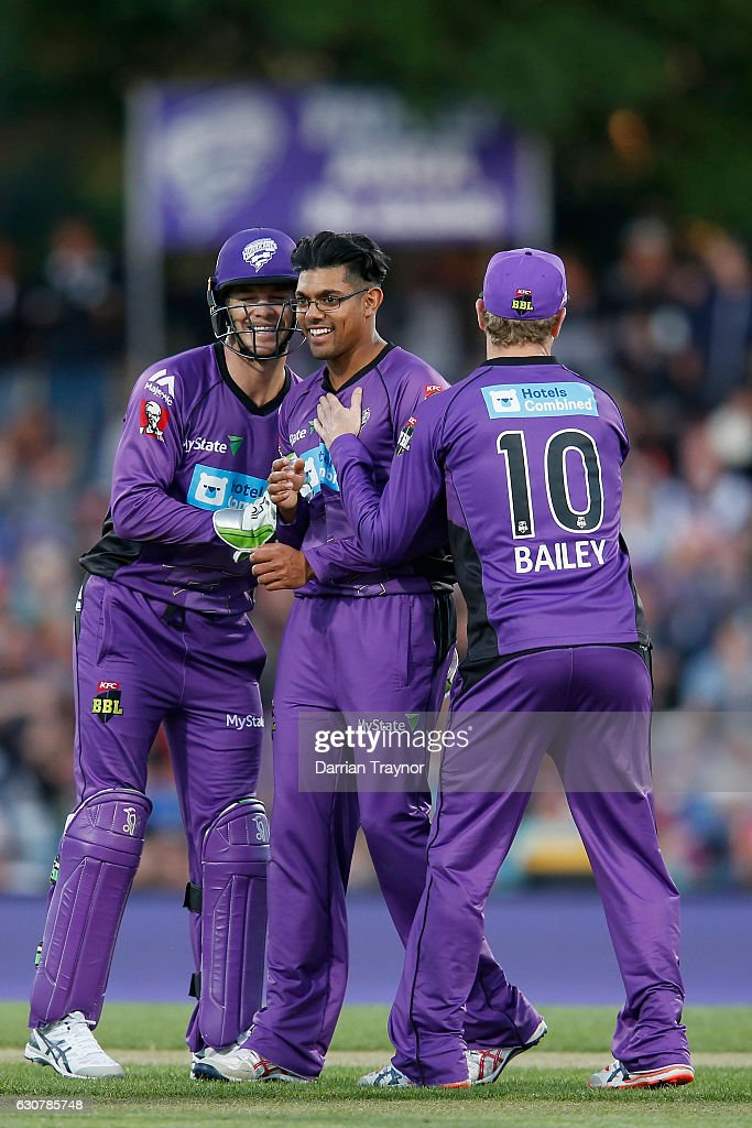 Clive Rose of the Hobart Hurricanes celebrates the wicket of Kieron Pollard of the Adelaide Strikers during the Big Bash League match between the Hobart Hurricanes and Adelaide Strikers at Blundstone Arena on January 2, 2017 in Hobart, Australia.